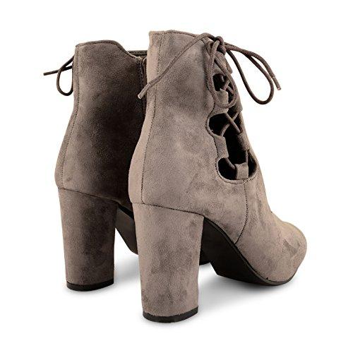 Neue Damen Hohe Blockabsatz Spitze bis Winter Chelsea Knöchel Boots Schuhe Größe Grau (Veloursleder)