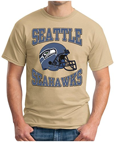 OM3 Seattle Seahawks - T-Shirt | Herren | American Football Shirt | Super Bowl 52 LII | NFL | S - 5XL Khaki