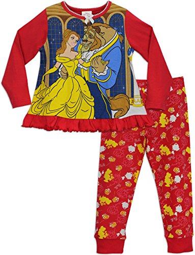 Principesse disney - pigiama a maniche lunghe per ragazze - disney la bella e la bestia - 4 - 5 anni