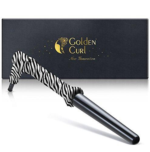 Golden Curl Professioneller Lockenstab GL506 18mm – 25mm lang anhaltende Locken für alle Haartypen (Zebra)