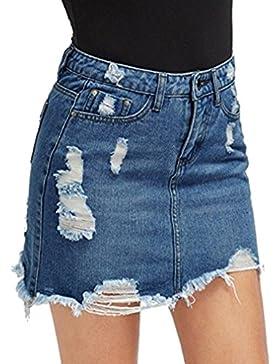 Mujeres Falda de Mezclilla - Moda Minifalda Rotos Cintura Alta A-lìnea Skirt Casual Falda Streetwear para Verano...