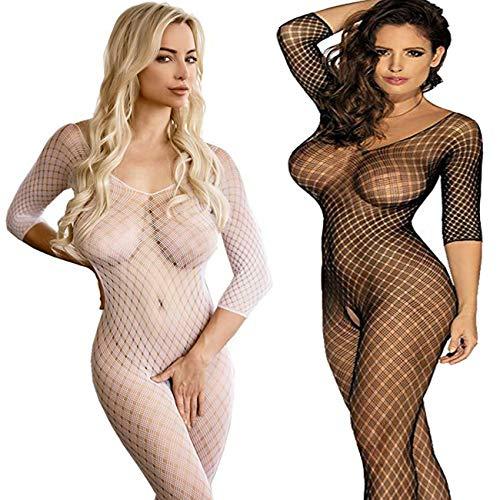 2 Pack Frauen Fischnetz Sheer Open Crotch Unterwäschen Bodystockings Body Strumpf Bodysuit Dessous Übergröße (Schwarz+Weiß) (Dessous Fisch-netz Womens)