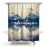 AnazoZ Duschvorhang 3D-Effekt Wasserdicht, Anti Schimmel, Umweltfreundlich Waschbar mit 12 Duschvorhangringen Polyester Wald Badewanne Vorhänge für Badezimmer - Stil 1 180 x 180 cm