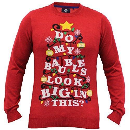 Herren Weihnachten Weihnachts Pullover Rentier Threadbare Neuheit Santa Gestrickt Norweger Rot - IMV126PKA