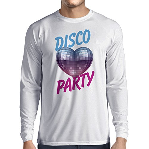 Langarm Herren t Shirts Disco-Party, für Musikliebhaber (XX-Large Weiß Mehrfarben)