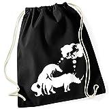 Pferd + Rhinocéros = Licorne/Unicorn Bag/100% coton sac de gym avec inscription et motif/uni Taille unique, unisexe/Idée cadeau/sac à dos sac, jute choulgan-tach, jute Sacs Hipster Fashion/vanverden, Black (Schwarz)