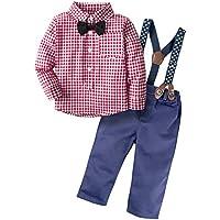 BIG ELEPHANT Pantalones de camisa de manga larga para niños con 2 piezas de Baby Boys