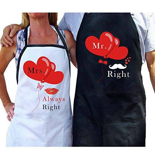 f47b2c18bb4 AerWo Delantales para pareja con bolsa de regalo divertidos delantales de  cocina para recién casados -