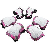 Protezioni per bambini, 6 pezzi Ginocchiere e polso Set di protezioni per bambini per pattinaggio a rotelle in linea (rosa)