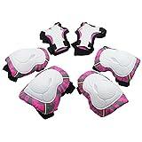 6 in 1 Kinder Schutzausrüstung Set, KUYOU Knie Ellbogenschützer und Handgelenk Kinder Pad Set für Inline Roller Skating Radfahren Sport Safe Guard (Rosa)