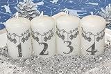 Adventskerzen Stumpenkerzen Motiv 'Weihnachtsgirlande' 80/50 mm weiß, 4 Stück