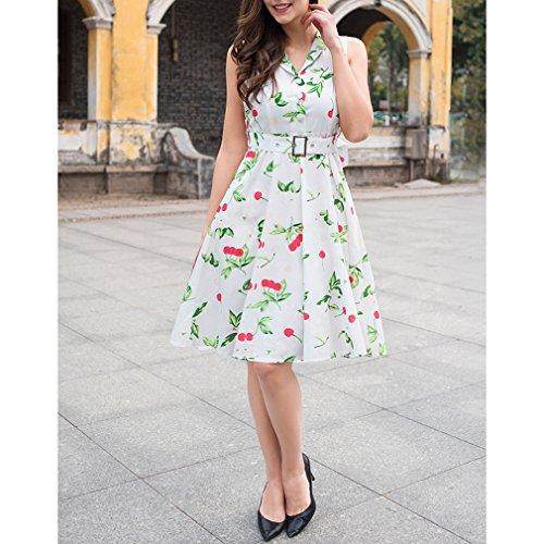 Honghu Damen Sommer ärmellos Bustier Drucken Knielang Plissee Printing A-line Taille Kleid Weiß