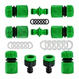 """YAAVAAW Kit di 10 raccordi per Tubo da Giardino in plastica, per Tubi da Giardino (2 connettori Maschi), 6 Tubi con Attacco rapido da 1/2"""", 2 raccordi da 1/2"""", 21 mm e 26,5 mm"""