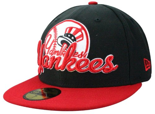 New Era New York Yankees SCRIPT DOWN Cap - Fitted - Black/Scarlet | Größe: 7 1/8 + original Bandana gratis