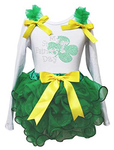 My 2nd St Patrick Day Dress White L/s Cotton Shirt Kelly Green Petal Skirt 1-8y (4-5 Jahr) (St Patricks Day Baby Mädchen Outfit)
