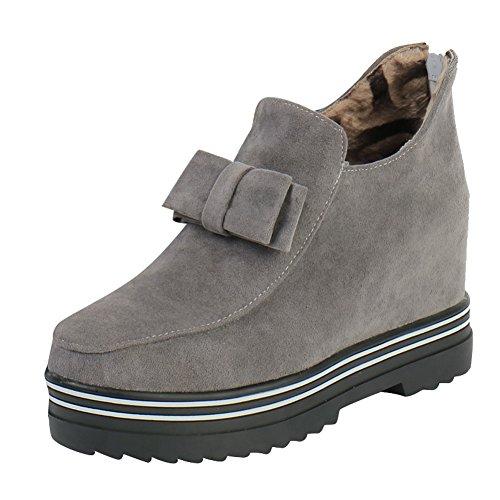 Mee Shoes Damen warm gefüttert Schleife Geschlossen hidden heel Ankle Boots Grau