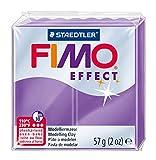 Staedtler FIMO Effect, Pâte à modeler à effet translucide violet extrêmement souple, Durcissant au four, Pour débutants et artistes, Facile àdémouler, Pain de 57 grammes, 8020-604