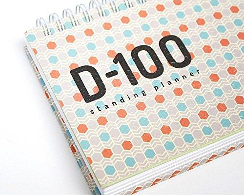'd-100' 100Tage, undatiert Planer Planer Notitzbuch Schreibtisch Staffelei Kalender Draht Bound Organizer Agenda Notizbuch. 176P, 14,2x 9,7x 1,5cm elfenbeinfarben - Desktop-kalender-easel