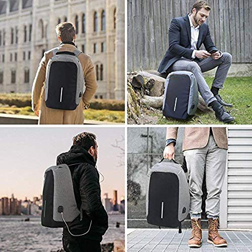 Best anti theft backpack in India 2020 Dewberries Anti-Theft Water Resistant Computer USB Charging Port Lightweight Laptop Backpack Bag Fitting 15.6-inch Laptops Tablets Image 2
