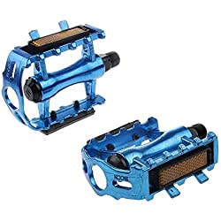 MagiDeal Pedales De Plataforma Plana Par De Aleación De Aluminio MTB Montaña Bicicleta De Carretera - Azul, 11 x 8,5 x 3,1 cm