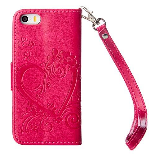 Coque iPhone 5S, Housse iPhone SE Cuir Case, Moon mood® PU Cuir Étui pour Apple iPhone 5 4.0 pouce Cas de téléphone Debout Fonction Bookstyle Flip Stand Cover avec Cordon Bouton Magnétique Fente pour  Rouge
