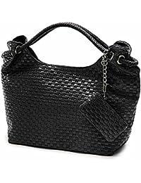 FUNOC de punto de piel sintética mujer bolso para mujer bolso de mano bolso de mano Monedero