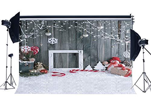 (Sunny Star Weihnachtshintergrund 2,1 x 1,52 m Vinyl Kulisse Fallende Schneeflocken Schneemann Zuckerstange Holzdiele schwere Schnee Fotografie Hintergrund für Gruß-Fotostudio-Requisiten QB100)