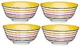 Kitchencraft piedino Swirl/stripe-patterned ciotole, 15.5cm (15,2cm)–multicolore (set da 4), ceramica, multicolore, 15.5x 15.5x 7.5cm