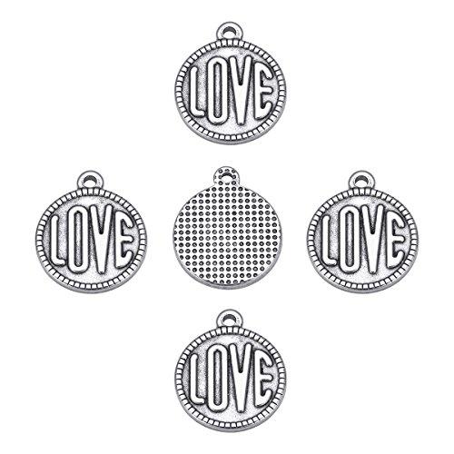 YF 10PCS Weiß K Edelstahl in Herzform rund Stil, mit einzigen Gravur Love klein Anhängern für Yours Lovers (20mmx16mm) (Einziges Aussetzung Licht)
