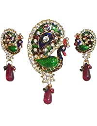 DollsofIndia Stone Studded Peacock Design Pendant With Earrings - Stone And Metal (DK26-mod) - Green