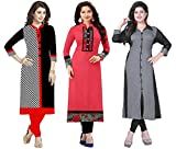 #8: Ramdev Women's Cotton Semi-Stitched Combo Of 3 Kurti (Multicolor_Free Size)