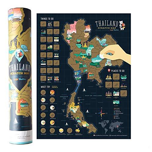 Mcbazel Landkarte zum Rubbeln 40 x 30 cm Thailand-Serie Personalisierte Poster Reise Karte