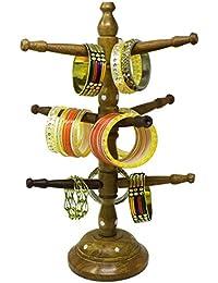 SKAVIJ Handmade Wooden Bangle Holder Jewellery Stand for Women Tree Carving, 15 inches