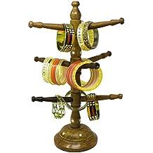 SKAVIJ Brazalete de madera hecho a mano Soporte de joyería para mujer Talla de árbol