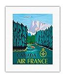 Canada - Air France - Affiche Ancienne Vintage Companie aérienne Poster Aviation de Jean Doré c.1951 - Beaux-Arts Imprime Fine Art Print - 28cm x 36cm