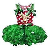 Longra Baby Kinder Mädchen Kleider Festlich Weihnachten Kleid Weihnachtskostüm Weihnachtskleid Kinder Tutu Prinzessin Deer Weihnachten Outfits Kleidung Kleid (Red, 90CM 18Monate)