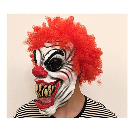 Verkauf Zum Kostüm Clown Scary - MU Masquerade Creepy Scary Halloween Cosplay Kostüm Maske Latex Horror für Unisex Erwachsene Party Dekoration Requisiten Ghost Devil Dancing Head Cover,Rothaariger Gesichts-Clown