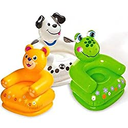 Intex Premium Inflatable Beanless Sofa Chair For Kids 60 Kg,Intex Inflatable Animal Chair For Kids (Age: 3-8 Years)-(designs vary)