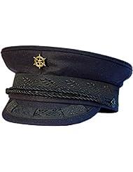 Modas Original Prinz-Heinrich Mütze mit vergoldeter Anstecknadel - marineblau