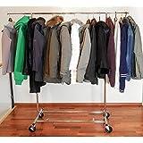 Tatkraft Drogo Robuste 100 kg Portant pour Vêtements sur Roues Pliable Acier Chromé