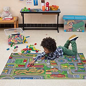 Carpet Studio Weiche Haptik abgepasster Teppich Kinderzimmer für Junge und Mädchen, Rutschfester Rücken, praktische Reinigung, Spielfreundlich, Playcity 95×133, 95x133cm