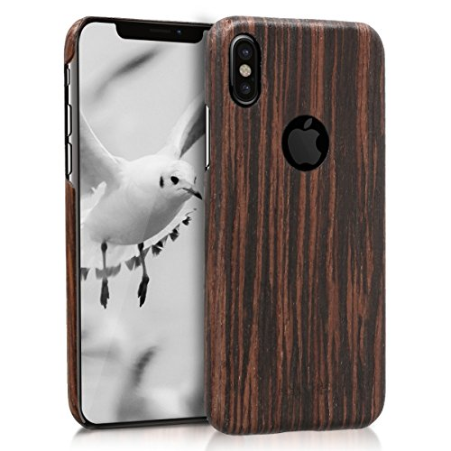 kalibri-Holz-Case-Hlle-fr-Apple-iPhone-X-Handy-Cover-Schutzhlle-aus-Echt-Holz-und-Kunststoff-Mix-Lindenholz-in-Dunkelbraun