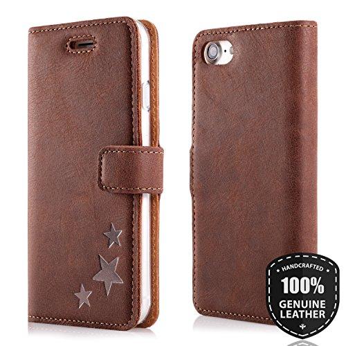 Graphit Stern - Premium Vintage Ledertasche Schutzhülle Wallet Case aus Echtesleder Nubukleder Farbe Nussbraun für Lenovo/Motorola Moto G5 Plus (5,20 Zoll)