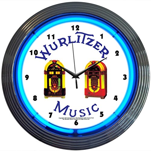 Neonetics Wurlitzer Jukebox Neon Wall Clock, 15-Inch by Neonetics -