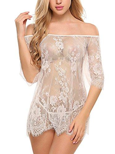 ADOME Dessous Erotik Set kalte Schulter Reizwäsche für Damen Sexy transparenter Spitzen 3/4 Ärmel Nachtwäsche Babydoll mit (Babydoll Spitzen Kostüm)