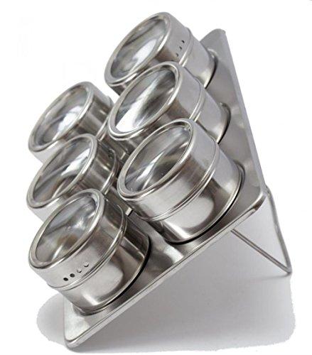 V.JUST 6 Stück Magnetische Edelstahl Cruet Würze Gewürzdosen Set Salz- und Pfefferstreuer Gewürz Sprays Kochen Barbeque-Tool