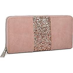 styleBREAKER monedero con rayas de lentejuelas alrededor, cremallera, cartera, señora 02040056, Color Rosa palo
