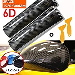 Mioke 6D Film Adhésif Vinyle en Fibre de Carbone,Super High Glossy,1520 x 200mm/300mm Film Protection Auto (Noir, 30cm)