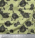 Soimoi Dekorative Blumenmuster aus Baumwoll-Voile Stoff
