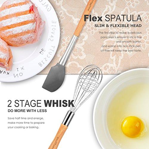 Godmorn – Set di utensili da cucina (9pezzi), utensili da cucina in silicone antiaderente, per cucinare–silicone e acciaio inox e manico in legno – kit per pentole e padelle - 3